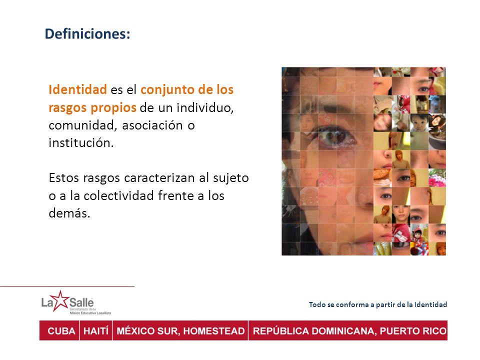 Definiciones: Identidad es el conjunto de los rasgos propios de un individuo, comunidad, asociación o institución.
