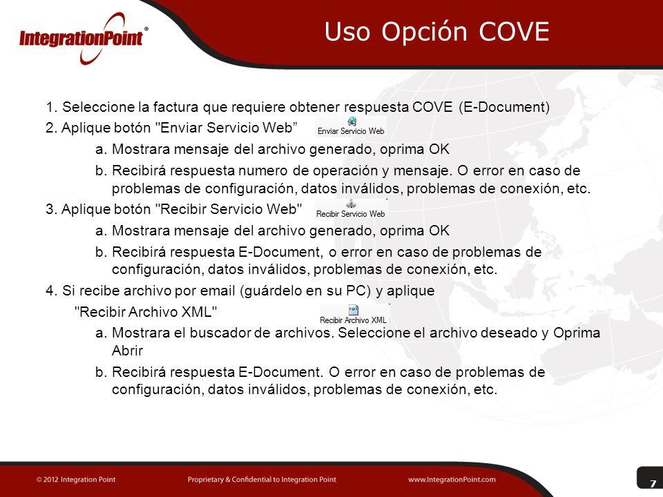 Uso Opción COVE