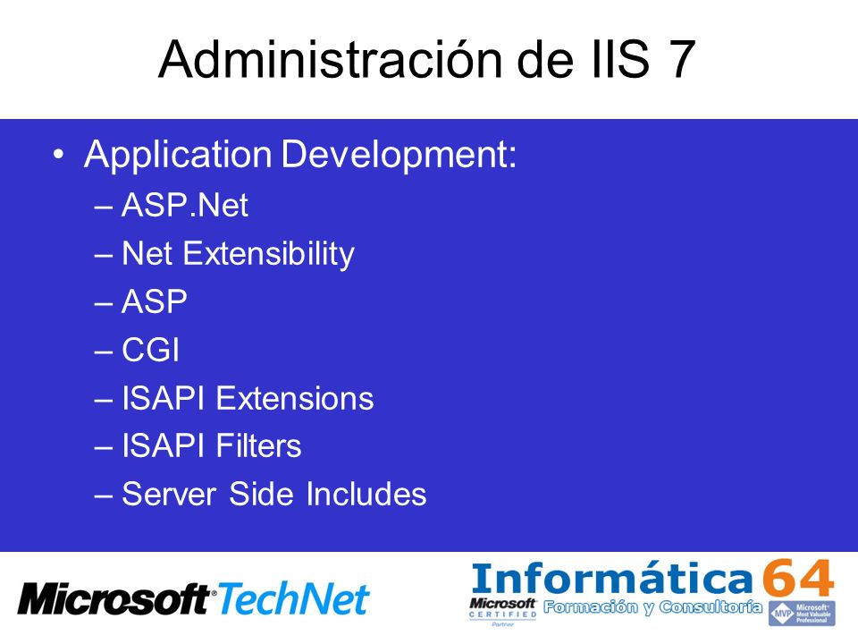 Administración de IIS 7 Application Development: ASP.Net