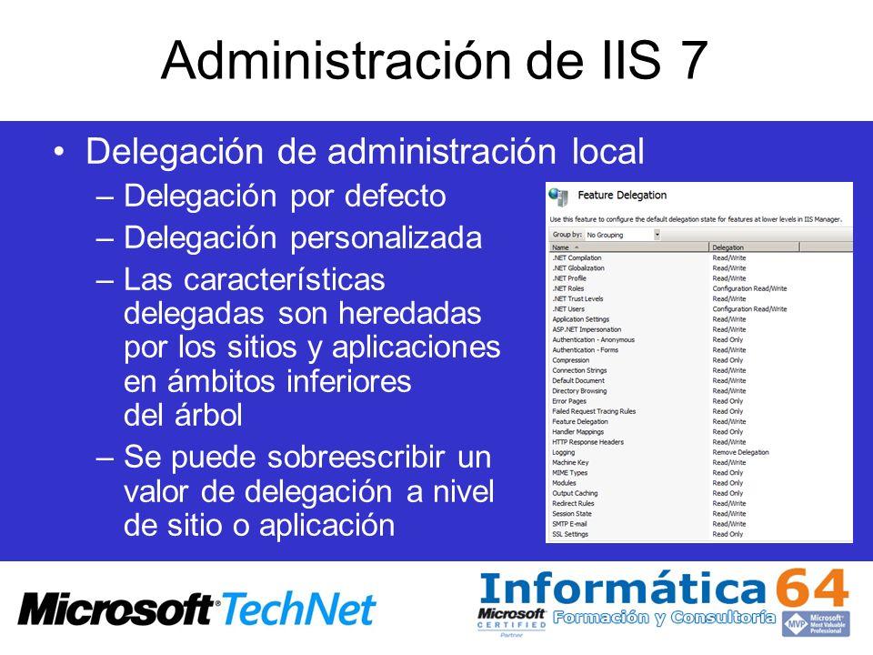 Administración de IIS 7 Delegación de administración local