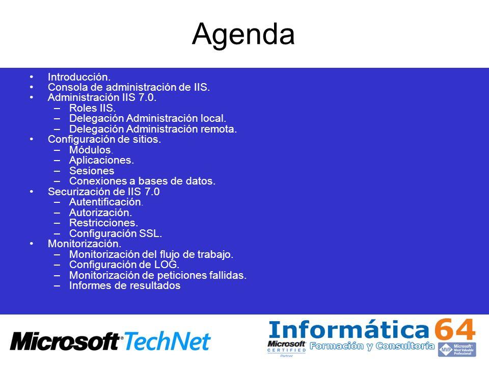 Agenda Introducción. Consola de administración de IIS.
