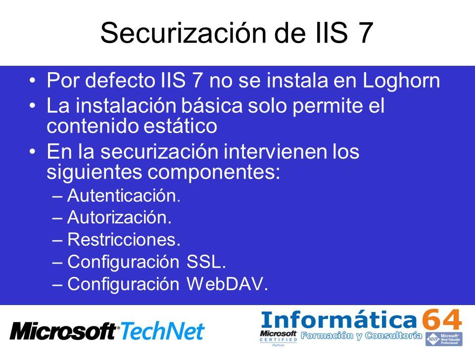 Securización de IIS 7 Por defecto IIS 7 no se instala en Loghorn
