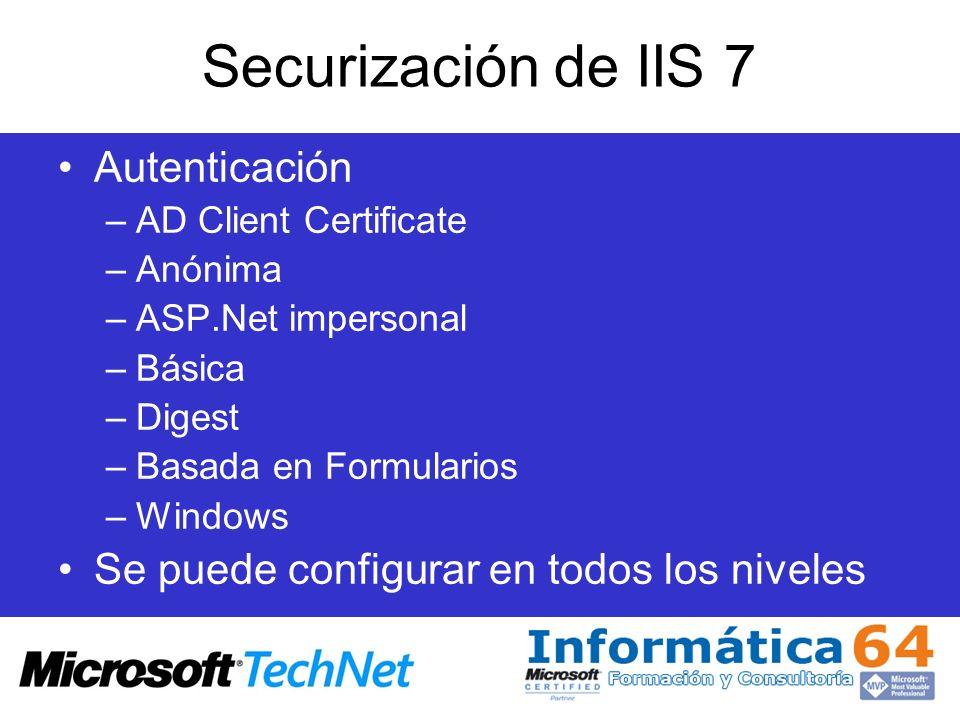 Securización de IIS 7 Autenticación