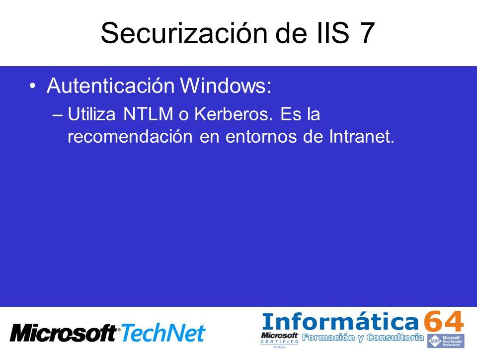 Securización de IIS 7 Autenticación Windows: