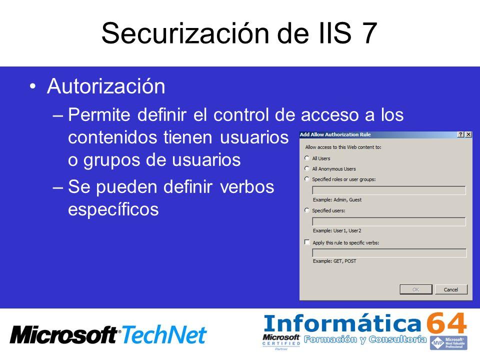 Securización de IIS 7 Autorización