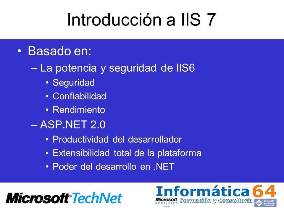 Introducción a IIS 7 Basado en: La potencia y seguridad de IIS6