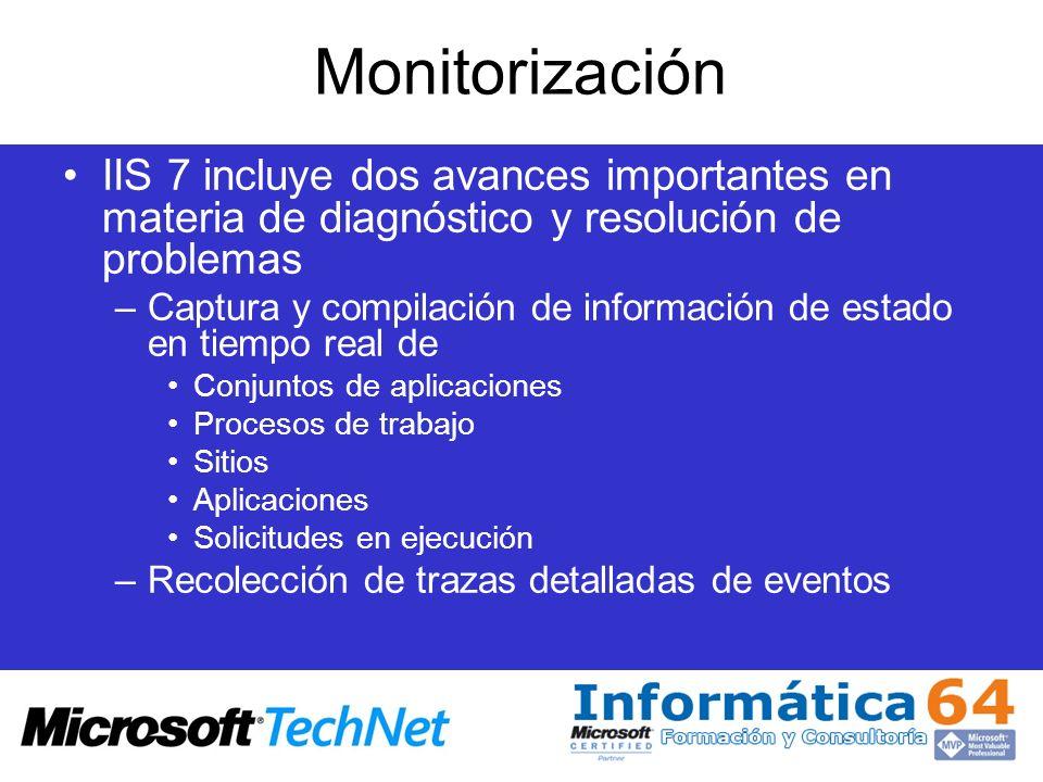 MonitorizaciónIIS 7 incluye dos avances importantes en materia de diagnóstico y resolución de problemas.