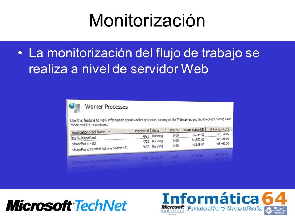 Monitorización La monitorización del flujo de trabajo se realiza a nivel de servidor Web