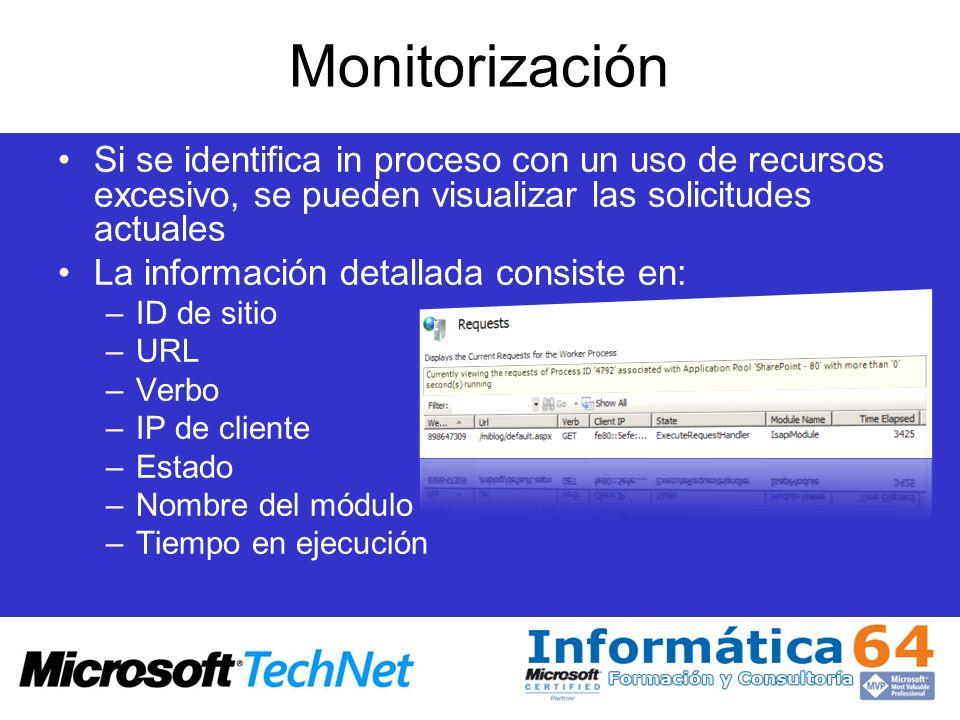 MonitorizaciónSi se identifica in proceso con un uso de recursos excesivo, se pueden visualizar las solicitudes actuales.