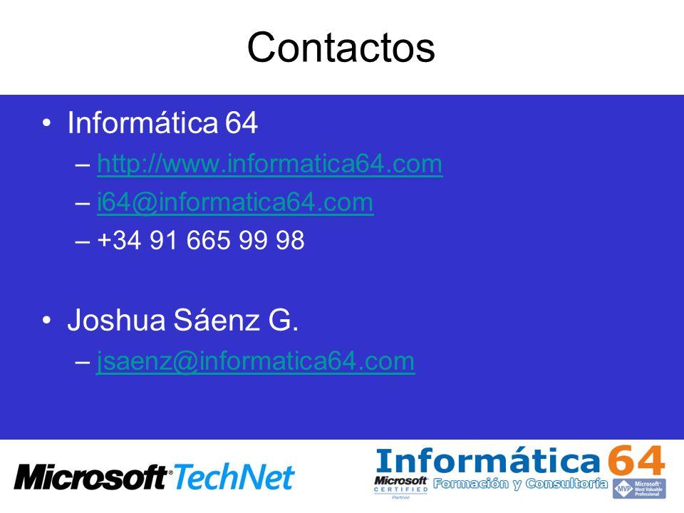 Contactos Informática 64 Joshua Sáenz G. http://www.informatica64.com