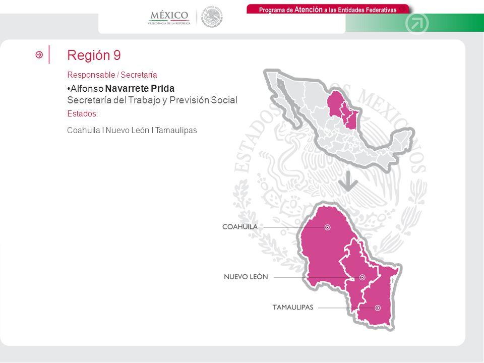 Programa de Atención a las Entidades Federativas. Región 9. Responsable / Secretaría.