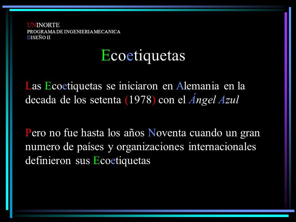 UNINORTE PROGRAMA DE INGENIERIA MECANICA. DISEÑO II. Ecoetiquetas.