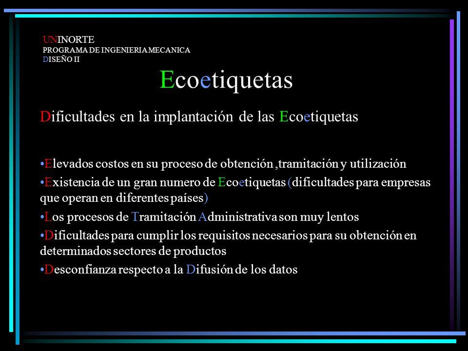 Ecoetiquetas Dificultades en la implantación de las Ecoetiquetas