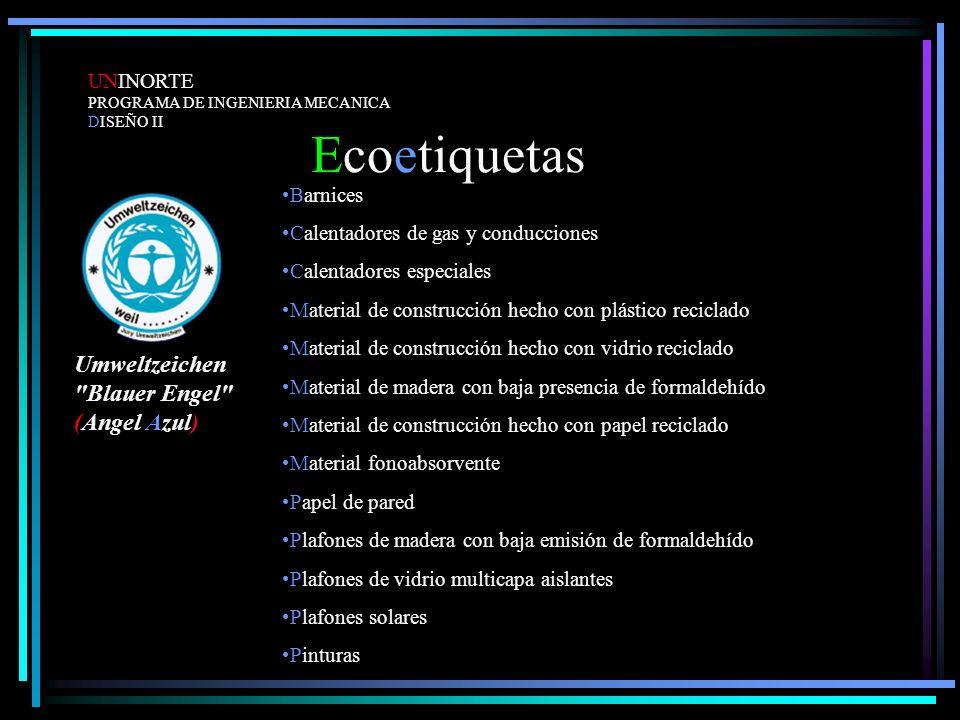Ecoetiquetas Umweltzeichen Blauer Engel (Angel Azul) UNINORTE