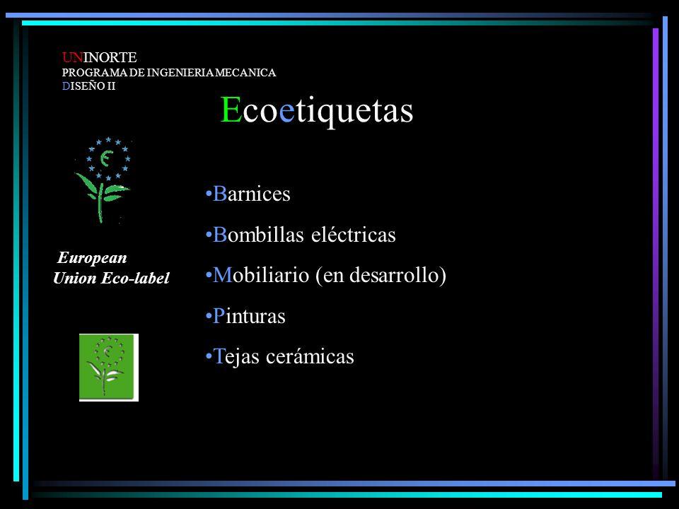 Ecoetiquetas Barnices Bombillas eléctricas Mobiliario (en desarrollo)