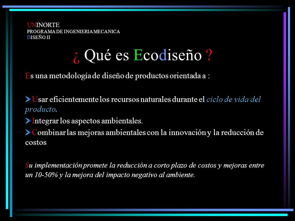 UNINORTE PROGRAMA DE INGENIERIA MECANICA. DISEÑO II. ¿ Qué es Ecodiseño Es una metodología de diseño de productos orientada a :