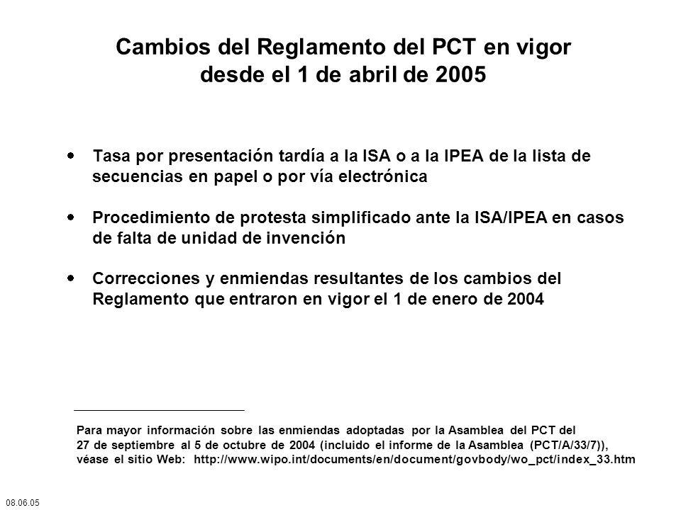 Cambios del Reglamento del PCT en vigor desde el 1 de abril de 2005