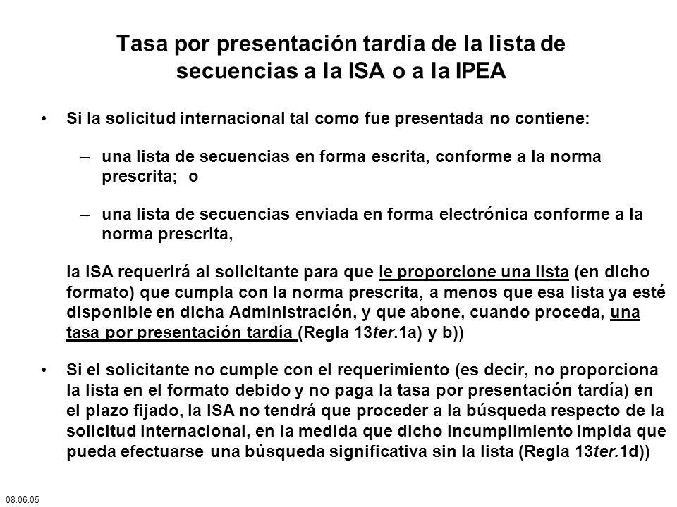 Tasa por presentación tardía de la lista de secuencias a la ISA o a la IPEA