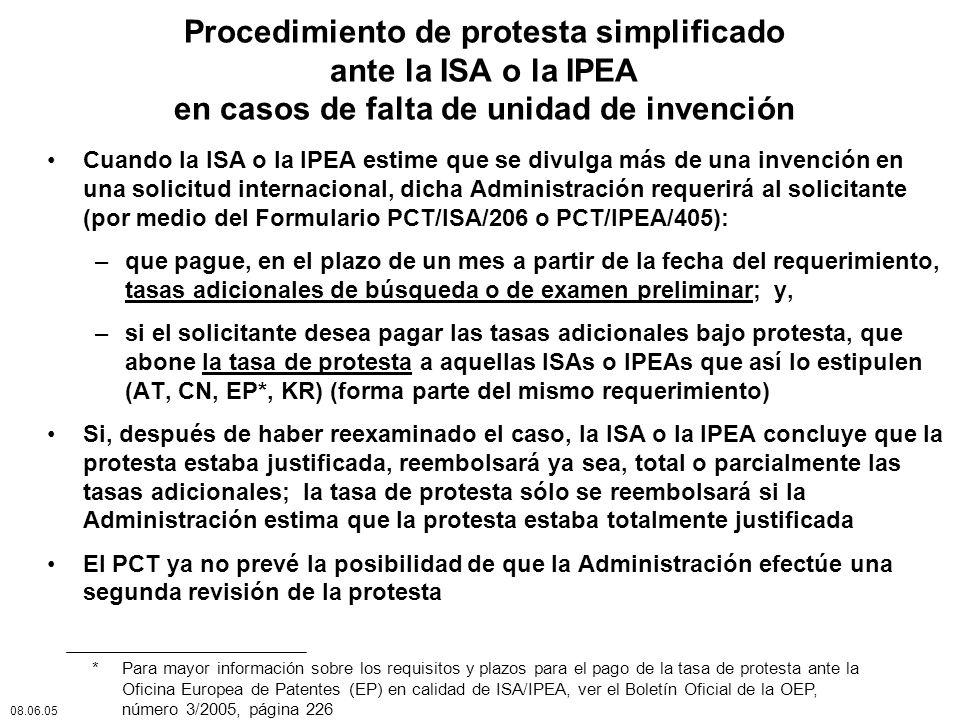 Procedimiento de protesta simplificado ante la ISA o la IPEA en casos de falta de unidad de invención