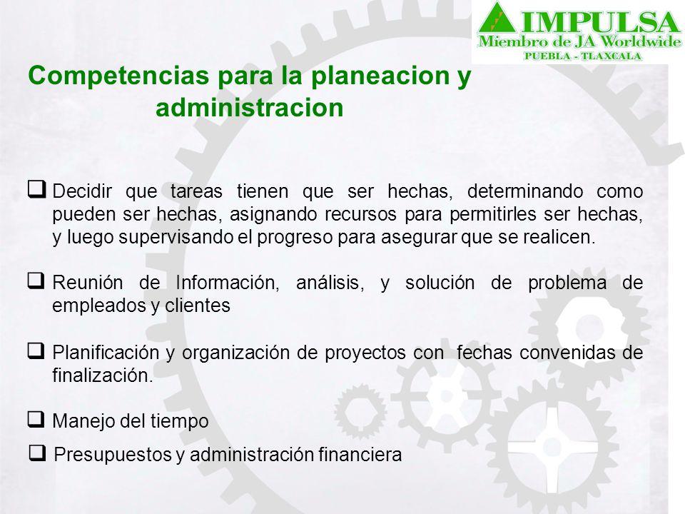 Competencias para la planeacion y administracion