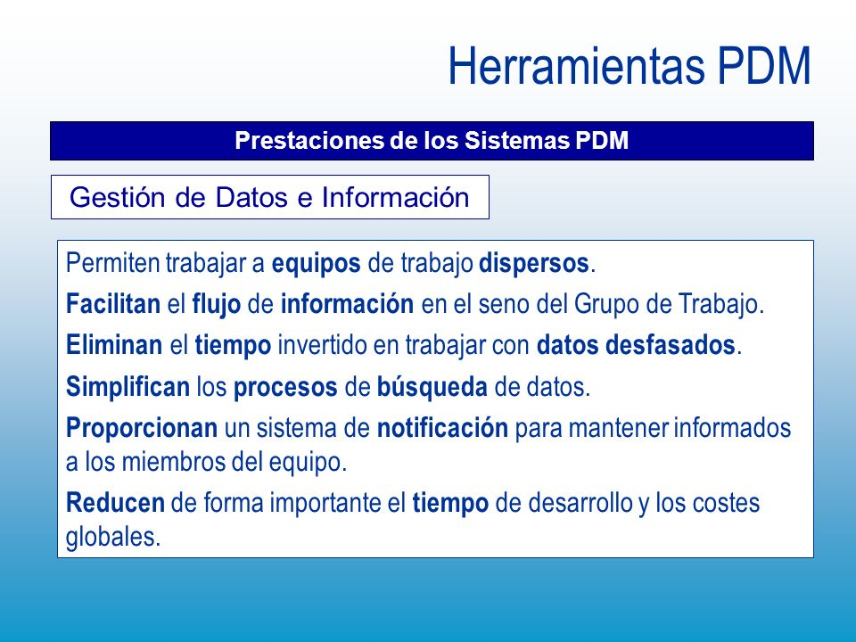 Prestaciones de los Sistemas PDM