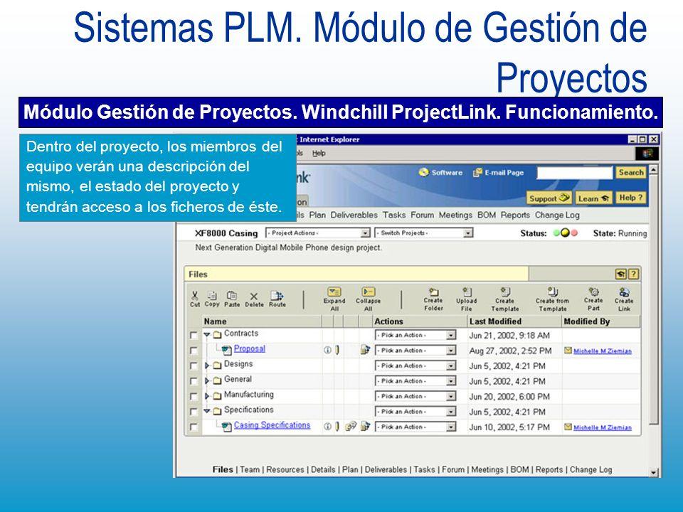 Sistemas PLM. Módulo de Gestión de Proyectos