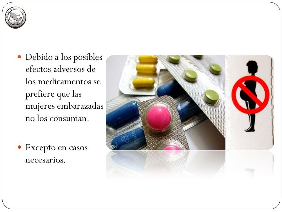 Debido a los posibles efectos adversos de los medicamentos se prefiere que las mujeres embarazadas no los consuman.