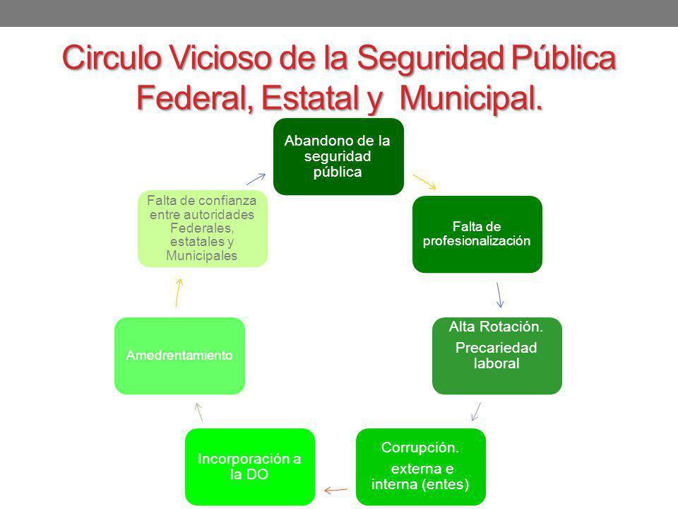 Circulo Vicioso de la Seguridad Pública Federal, Estatal y Municipal.