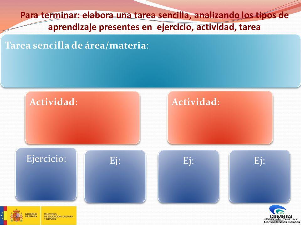 Para terminar: elabora una tarea sencilla, analizando los tipos de aprendizaje presentes en ejercicio, actividad, tarea