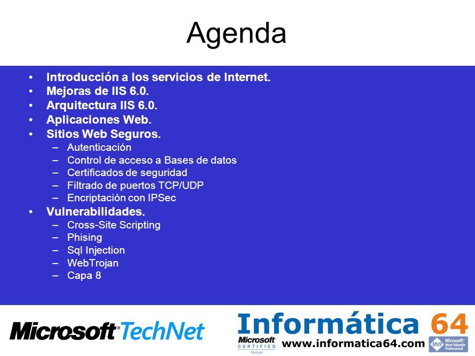 Agenda Introducción a los servicios de Internet. Mejoras de IIS 6.0.