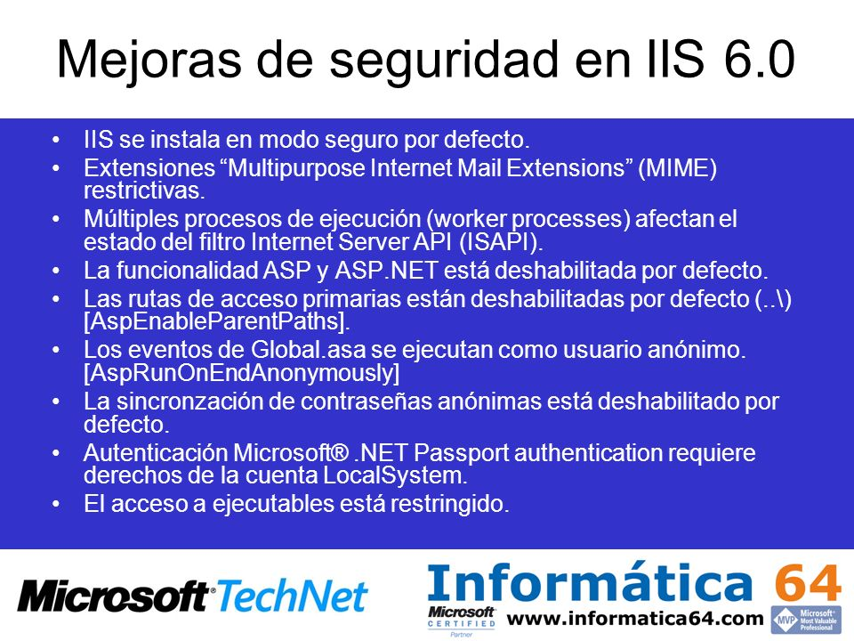 Mejoras de seguridad en IIS 6.0