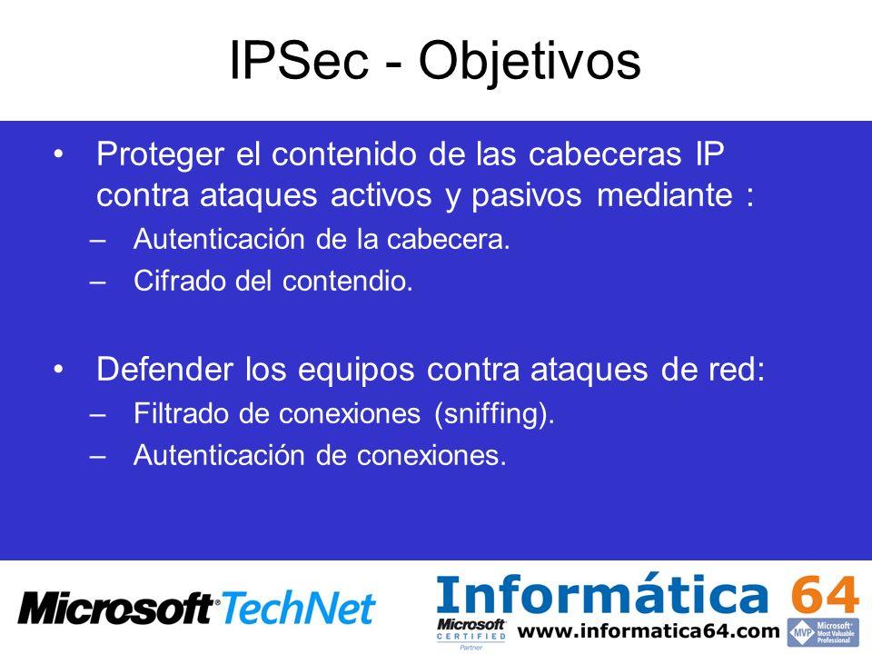 IPSec - Objetivos Proteger el contenido de las cabeceras IP contra ataques activos y pasivos mediante :
