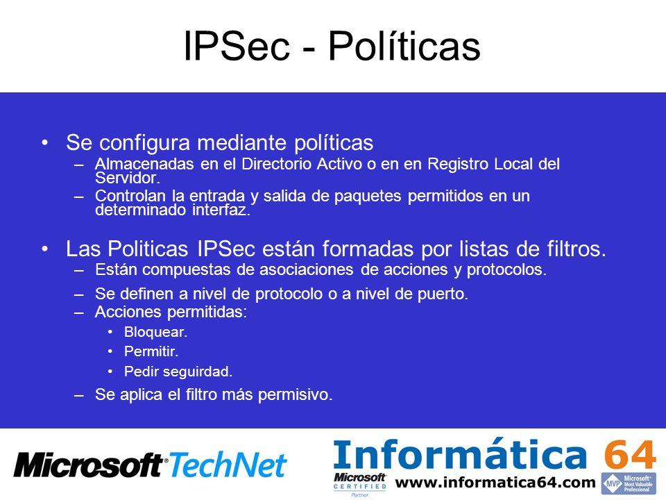 IPSec - Políticas Se configura mediante políticas