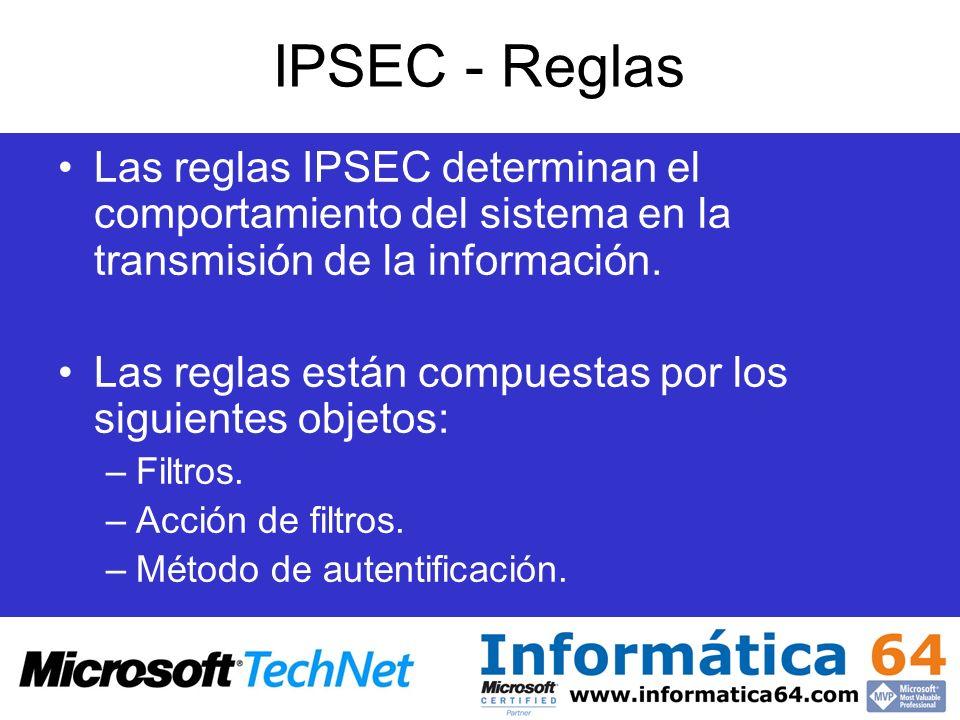 IPSEC - Reglas Las reglas IPSEC determinan el comportamiento del sistema en la transmisión de la información.