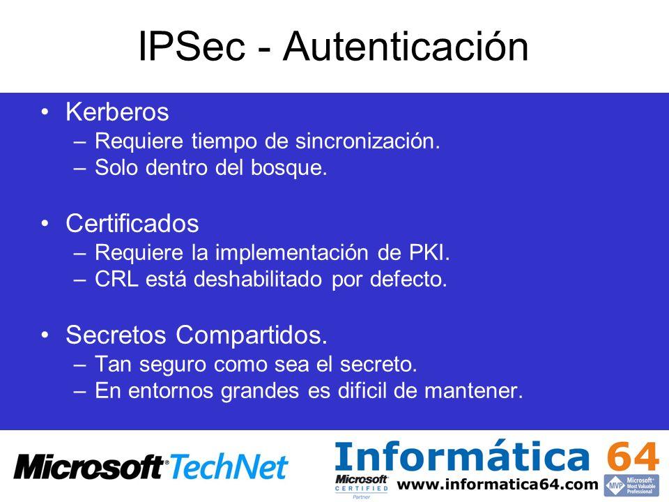 IPSec - Autenticación Kerberos Certificados Secretos Compartidos.