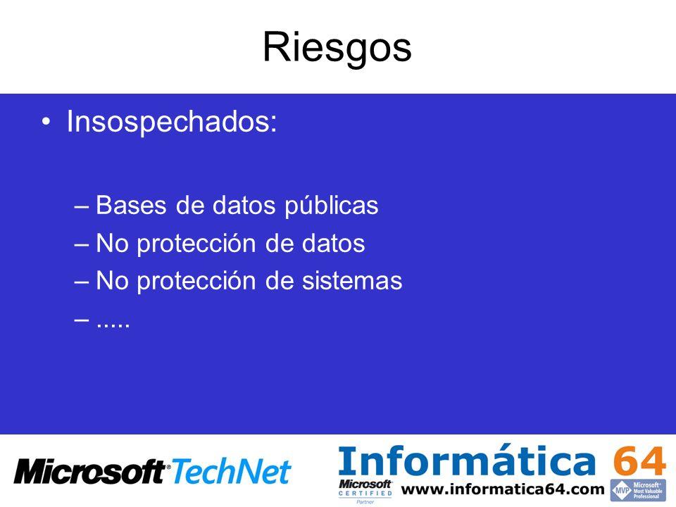 Riesgos Insospechados: Bases de datos públicas No protección de datos