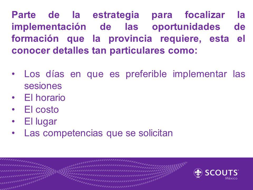 Parte de la estrategia para focalizar la implementación de las oportunidades de formación que la provincia requiere, esta el conocer detalles tan particulares como:
