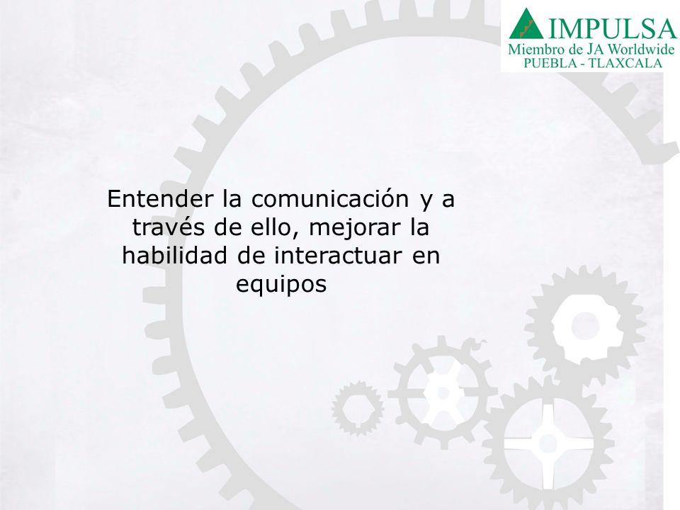 Entender la comunicación y a través de ello, mejorar la habilidad de interactuar en equipos