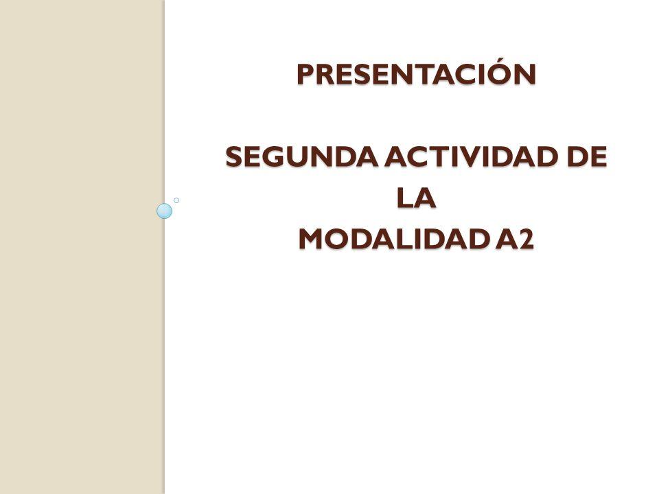 presentación SEGUNDa actividad de la modalidad a2