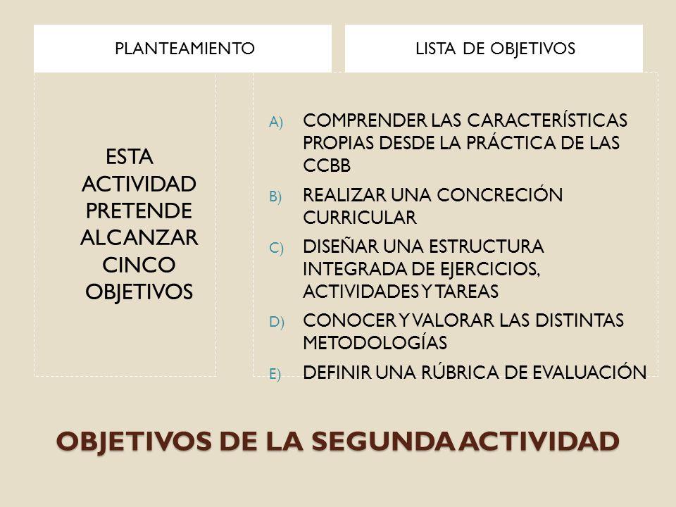 OBJETIVOS DE LA SEGUNDA ACTIVIDAD