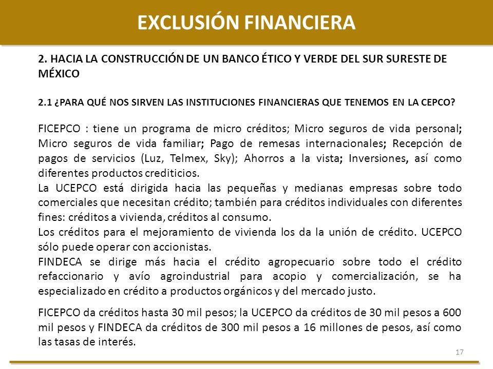 EXCLUSIÓN FINANCIERA 2. HACIA LA CONSTRUCCIÓN DE UN BANCO ÉTICO Y VERDE DEL SUR SURESTE DE MÉXICO.