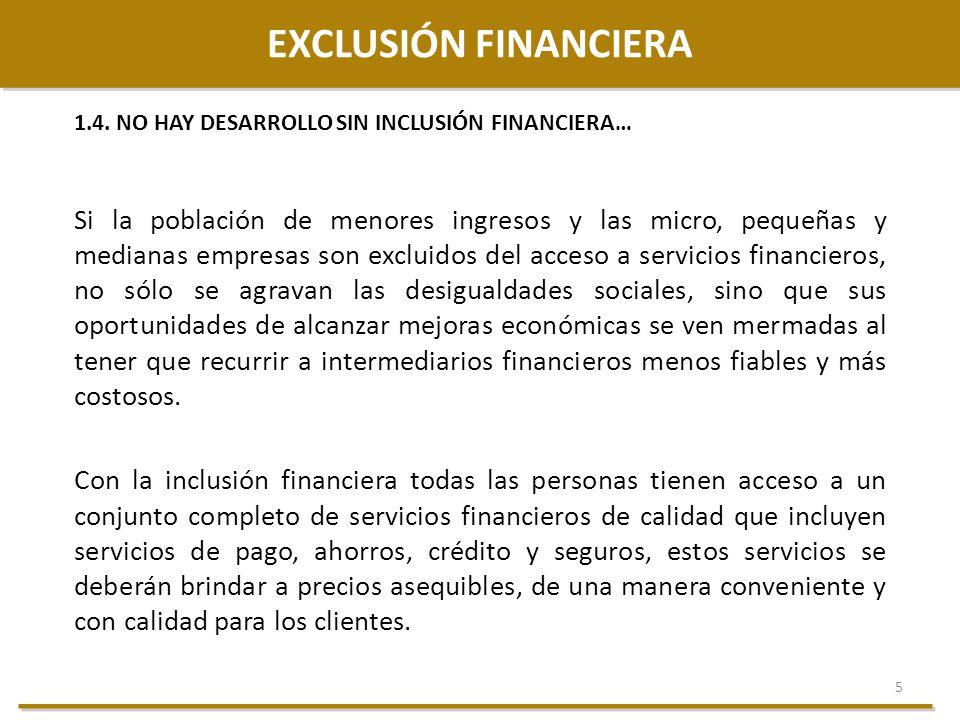 EXCLUSIÓN FINANCIERA 1.4. NO HAY DESARROLLO SIN INCLUSIÓN FINANCIERA…