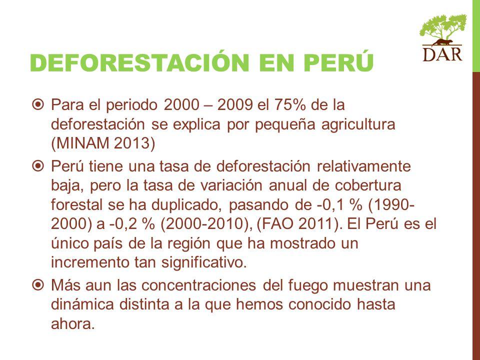 Deforestación en perú Para el periodo 2000 – 2009 el 75% de la deforestación se explica por pequeña agricultura (MINAM 2013)