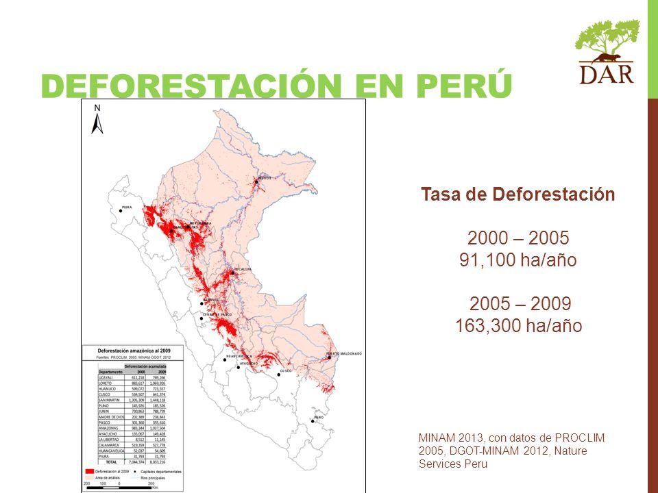 DEFORESTACIÓN en perú Tasa de Deforestación 2000 – 2005 91,100 ha/año