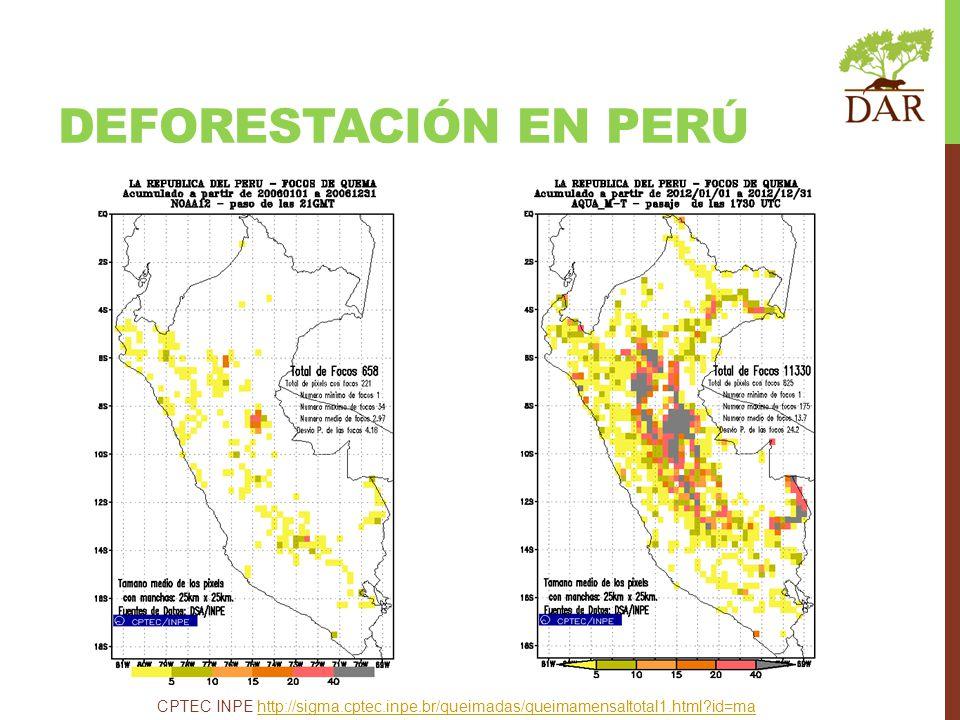 DEFORESTACIÓN en perú CPTEC INPE http://sigma.cptec.inpe.br/queimadas/queimamensaltotal1.html id=ma