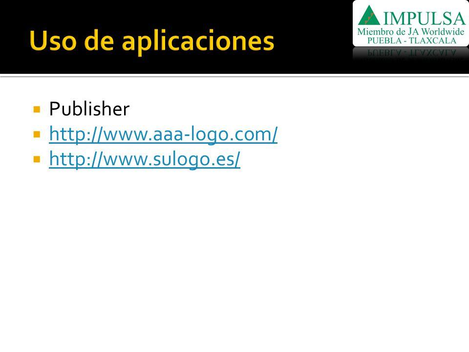 Uso de aplicaciones Publisher http://www.aaa-logo.com/
