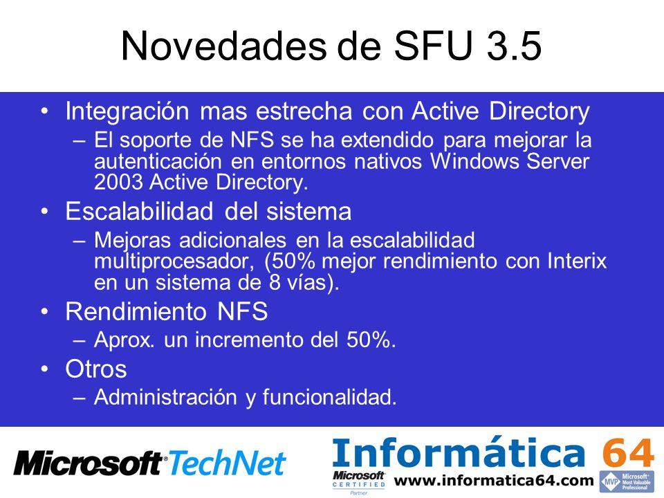 Novedades de SFU 3.5 Integración mas estrecha con Active Directory