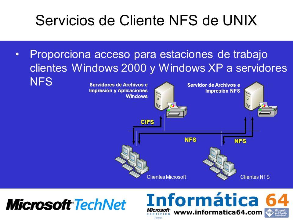 Servicios de Cliente NFS de UNIX