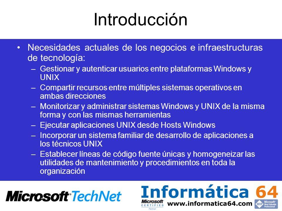 Introducción Necesidades actuales de los negocios e infraestructuras de tecnología: Gestionar y autenticar usuarios entre plataformas Windows y UNIX.