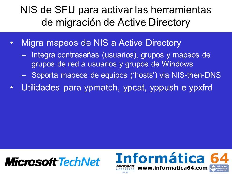 NIS de SFU para activar las herramientas de migración de Active Directory